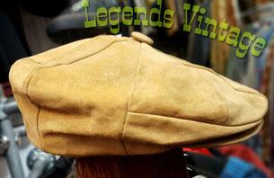 True Vintage Echt Leder Schiebermütze