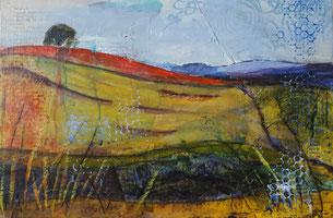 """Lords Hill poppy field"" 23.2 x 34cm  mixed media on cradled board. LHp01mm"