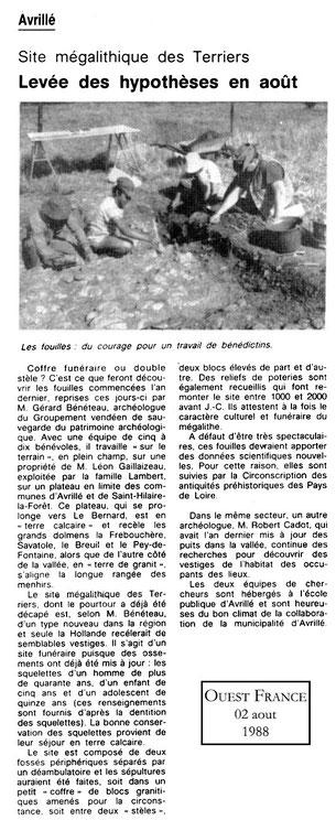 1988 - Levée des hypothèses en août - Ouest France