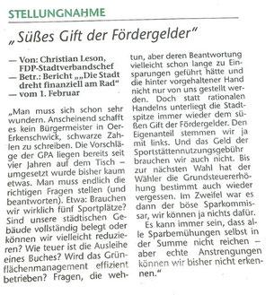 Leserbrief in der Stimberg Zeitung vom 3.2.2018