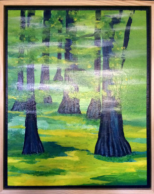 """""""Early Mist"""" 44cm x 54cm Multimedia on canvas, pinewood frame $250 (excluding freight)"""