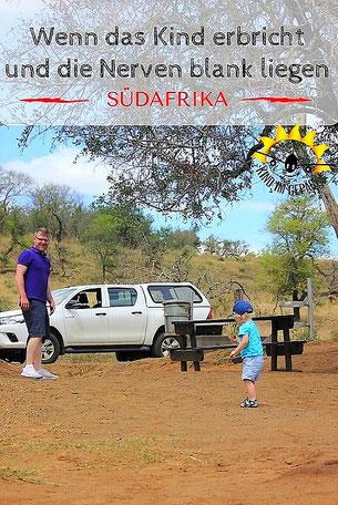 Reiseübelkeit beim Kleinkind mitten in Südafrika.