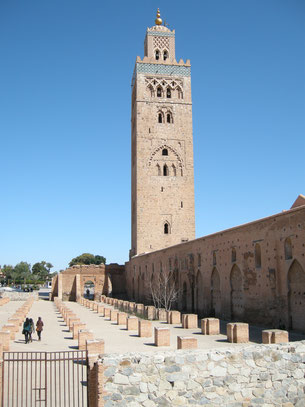The Koutoubia mosque is the largest mosque in Marrakesh. The height of the minaret is 77 m and the spire is 8 m high