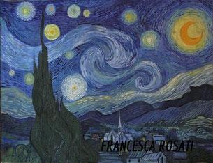 Notte stellata, copia d'autore Vincent Van Gogh,olio su tela 70X90 cm, anno 2014