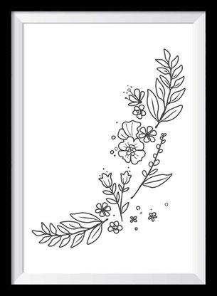 Flowerpower Illustration - schwarz-weiß