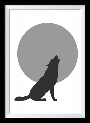 Illustration - Wolf - Schwarz-weiß