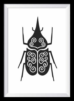 Käfer Illustration, Zeichnung in schwarz-weiß