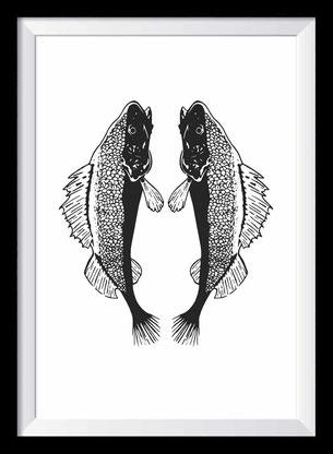 Fische Illustration, Zeichnung in schwarz-weiß