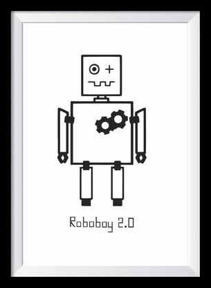 Roboboy Illustration, Zeichnung in schwarz-weiß