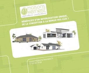 Logo maisons kernest sur fond vert avec une maison morderne, une maison traditionnelle et une maison à ossature bois