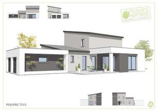 maison moderne à étage avec toit monopente en dégradé de gris pour l'enduit