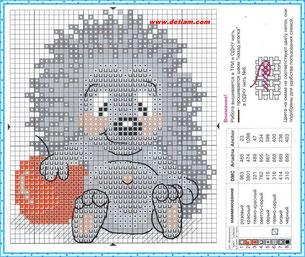 """Схема для вышивания """"Ёжик"""" на сайте www.detiam.com"""