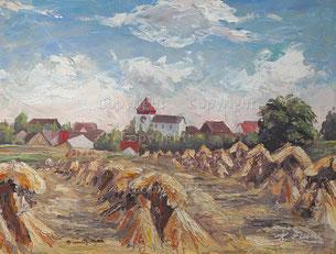Nr.2067    Landschaft, Strohgarben mit Dorf