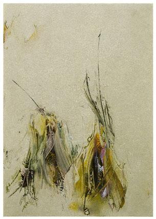 Blütenlese  6.11.2018 Kunstharz, Steinmehl, Acrylfarbe, Ölfarbe auf Aluminium 42 x 29,5 cm