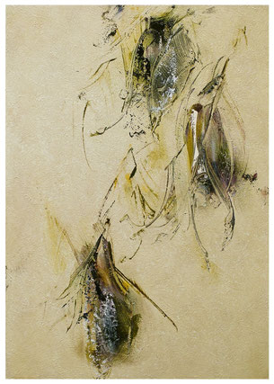 Blütenlese  5.11.2018 Kunstharz, Steinmehl, Acrylfarbe, Ölfarbe auf Aluminium 42 x 29,5 cm