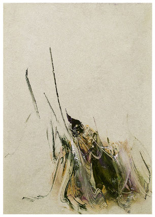 Blütenlese  7.11.2018 Kunstharz, Steinmehl, Acrylfarbe, Ölfarbe auf Aluminium 42 x 29,5 cm