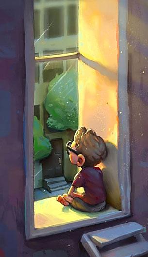 Ilustración de un niño en el poyete de la ventana