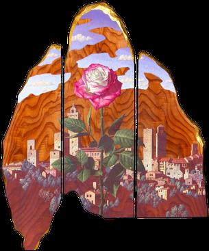塔と薔薇の記憶 365×290㎜ テンペラ画
