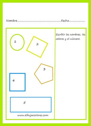 Ejercicios para repasar algunas figuras geométricas, colores y números en algunos; en los otros sólo los colores.