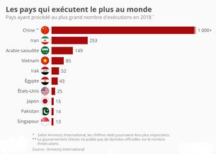 Les pays exécuteurs en 2018 - Cliquer pour agrandir