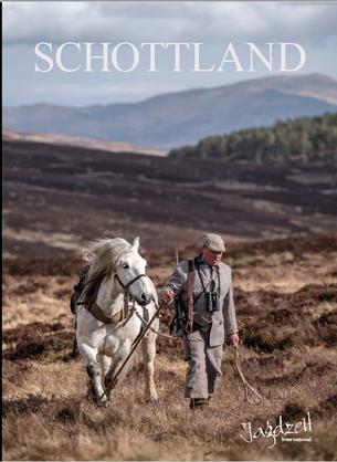 Jagdzeit International Themenband Schottland Cover Highland Pony und Stalker mit Rigby Büchse