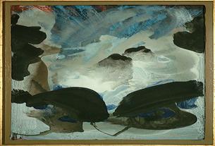 Blau versperrt - Acryl-Leinwand, 2000 (40x60)