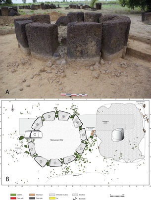 Fig. 3/ Monument XIV : level of collapsed dry stone walls interspersed between each monolith (A) and plan of structures (B)  (Photo : L. Laporte, Drawing : A. Delvoye), DAO : L. Quesnel).