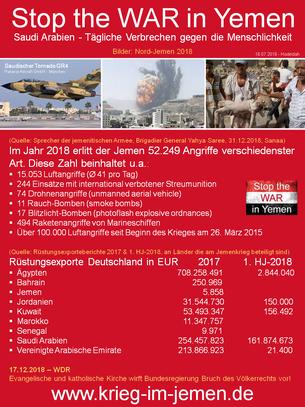 2018 - deutsche Rüstungsexporte an die saudische Kriegskoaltion und saudische Angriffe auf Nordjemen