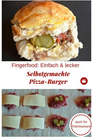 Selbstgemachte Pizza-Burger #burger #pizza #pizzaburgers #thermomixrezepte #fingerfoodrezepte