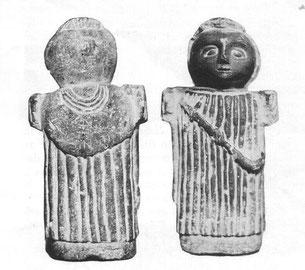 Statuette trouvée dans la chapelle de la commanderie d'Auzon - calcaire dolomitique peint