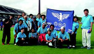 大会で活躍した八重山福祉地区のメンバー=8日、県総合運動公園陸上競技場(提供写真)