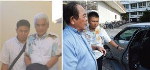 議会閉会後、県警の車に乗り込む今村容疑者(右)と、八重山署から本島に移送される伊良皆容疑者=21日夕、石垣市内(写真は一部加工しています)