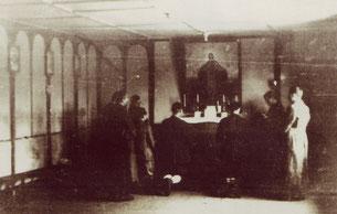 """Blick in den italienischen Sakralraum mit dem Altarbild """"Mater Captivorum"""""""