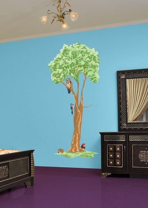 Vinyl wall art sticker with animal decals on a bedroom wall. Design available from www.wallartcompany.co.uk