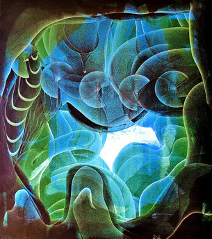 oil on canvas- abstract painting- art in green color, art in blue colors, abstract art with colors