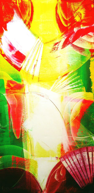 oil on canvas - abstract painting - art in yellow, intense art - intense colors