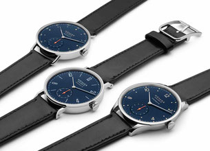 Die drei neuen Modelle in nachtblau/The three new watches in nightblue. Photo copyright: NOMOS Glashütte.
