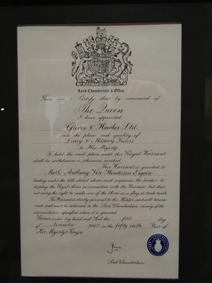 Royal Warrant document granted to the tailor Giewes & Hawkes. Photo: Men's Individual Fashion.