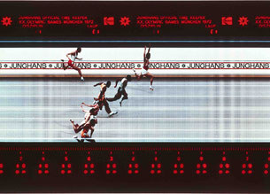 One of the first coloures photo finishes. Copyright: Junghans.