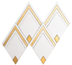 White and brass diamond mosaic