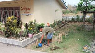 Children take turns watering the seedlings in the school ground.