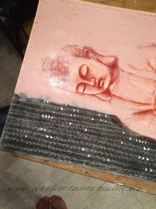 Buddha Gemälde in Arbeit