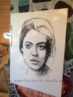 Kohle Zeichnung Gesicht