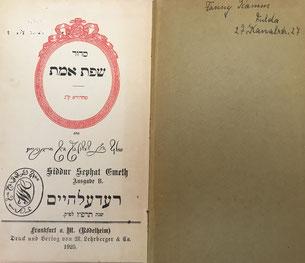 Fannys Gebetbuch der Synagoge Fulda
