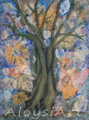 boom, schilderij, herfst, bladeren, acrylverf, verkocht, tekenles, schilderles Hilversum, 't Gooi