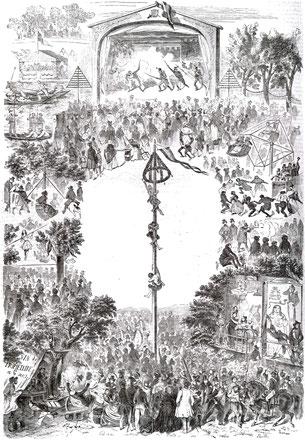 L'Illustration - Samedi 6 Mai 1843 - Fêtes et jeux aux Champs Elysées le jour de la saint Philippe