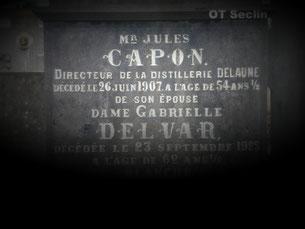 Sépulture de J. Capon, directeur distillerie Delaune (cimetière Seclin)