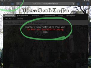 Screenshot der WGT-Webseite  / Foto: Gothamella