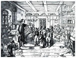 In einer Dorfschule.  Radierung von J.G. Hantzsch nach einer Zeichnung von Ludwig Richter, 1836. Romantische Bilder - Zeichnungen Nr. 13