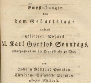 Festgedicht für Karl Gottlob Sonntag, 1797, Innentitel Ausschnitt, SLUB Dresden